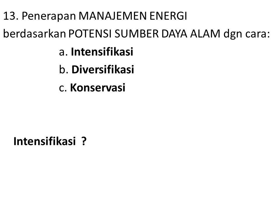13. Penerapan MANAJEMEN ENERGI berdasarkan POTENSI SUMBER DAYA ALAM dgn cara: a. Intensifikasi b. Diversifikasi c. Konservasi Intensifikasi ?