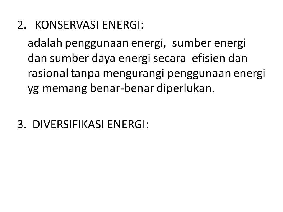 adalah penggunaan energi, sumber energi dan sumber daya energi secara efisien dan rasional tanpa mengurangi penggunaan energi yg memang benar-benar di