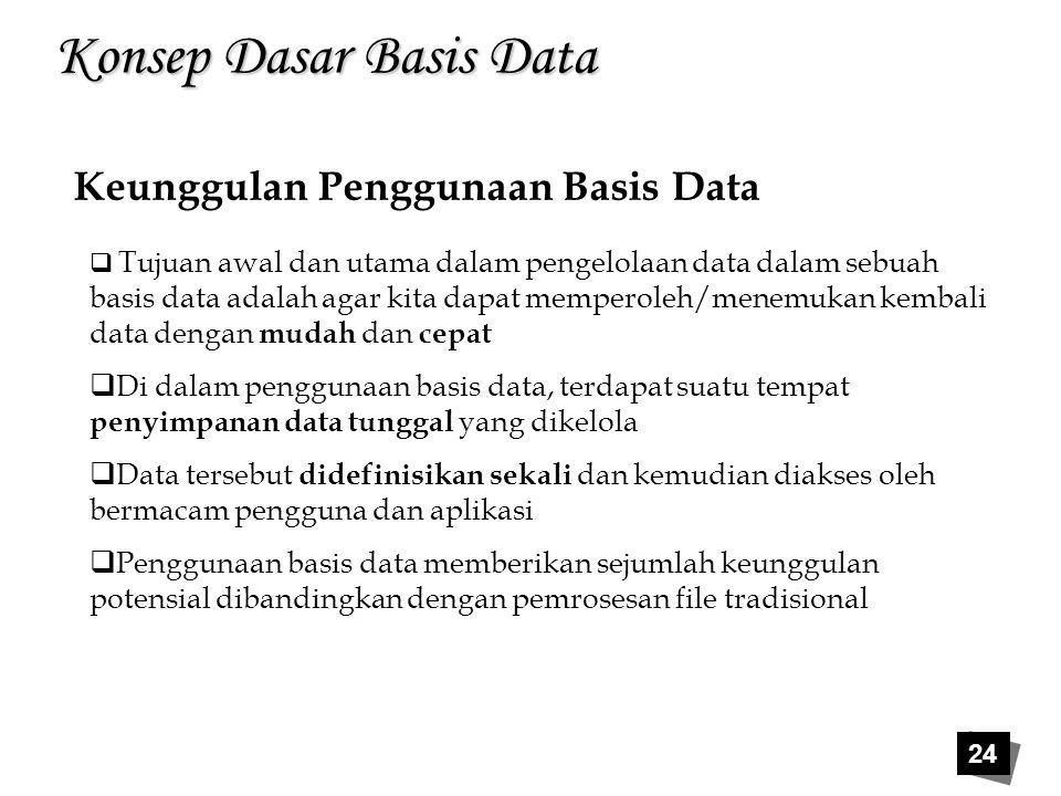 24 Konsep Dasar Basis Data Keunggulan Penggunaan Basis Data  Tujuan awal dan utama dalam pengelolaan data dalam sebuah basis data adalah agar kita da