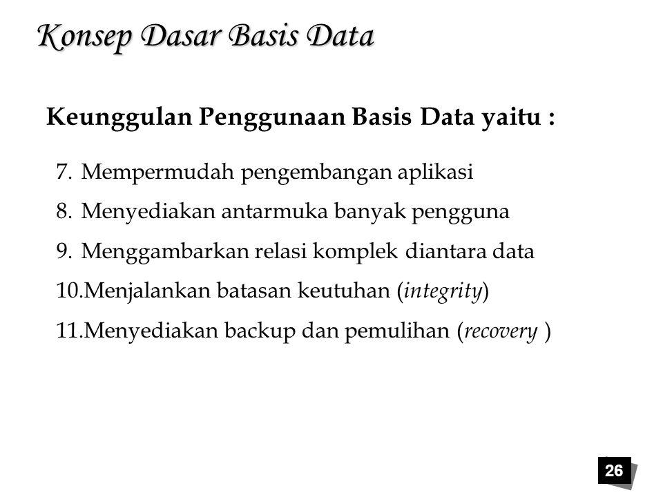 26 Konsep Dasar Basis Data Keunggulan Penggunaan Basis Data yaitu : 7.Mempermudah pengembangan aplikasi 8.Menyediakan antarmuka banyak pengguna 9.Meng