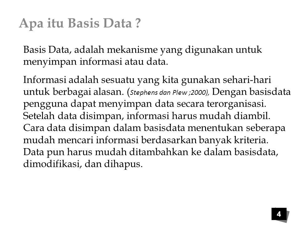 Apa itu Basis Data ? Basis Data, adalah mekanisme yang digunakan untuk menyimpan informasi atau data. Informasi adalah sesuatu yang kita gunakan sehar