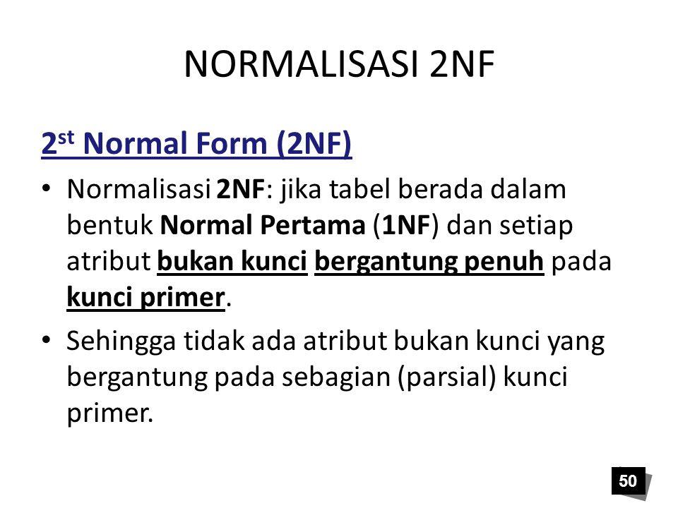 NORMALISASI 2NF 2 st Normal Form (2NF) Normalisasi 2NF: jika tabel berada dalam bentuk Normal Pertama (1NF) dan setiap atribut bukan kunci bergantung