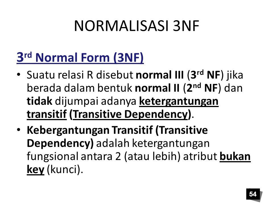 NORMALISASI 3NF 3 rd Normal Form (3NF) Suatu relasi R disebut normal III (3 rd NF) jika berada dalam bentuk normal II (2 nd NF) dan tidak dijumpai ada