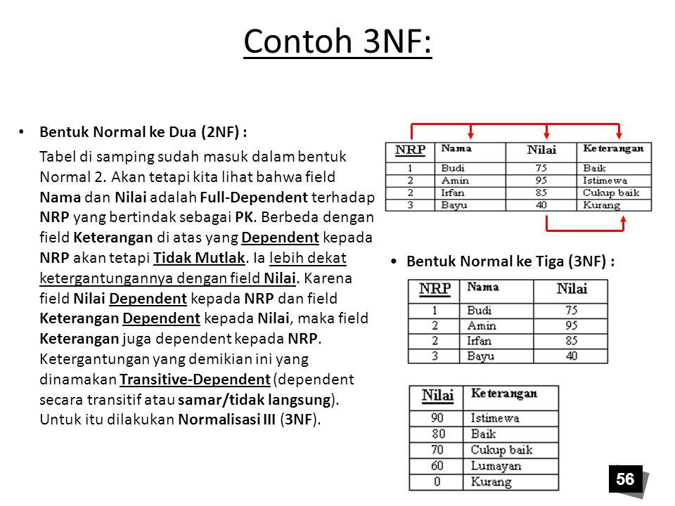 Contoh 3NF: Bentuk Normal ke Dua (2NF) : Tabel di samping sudah masuk dalam bentuk Normal 2. Akan tetapi kita lihat bahwa field Nama dan Nilai adalah