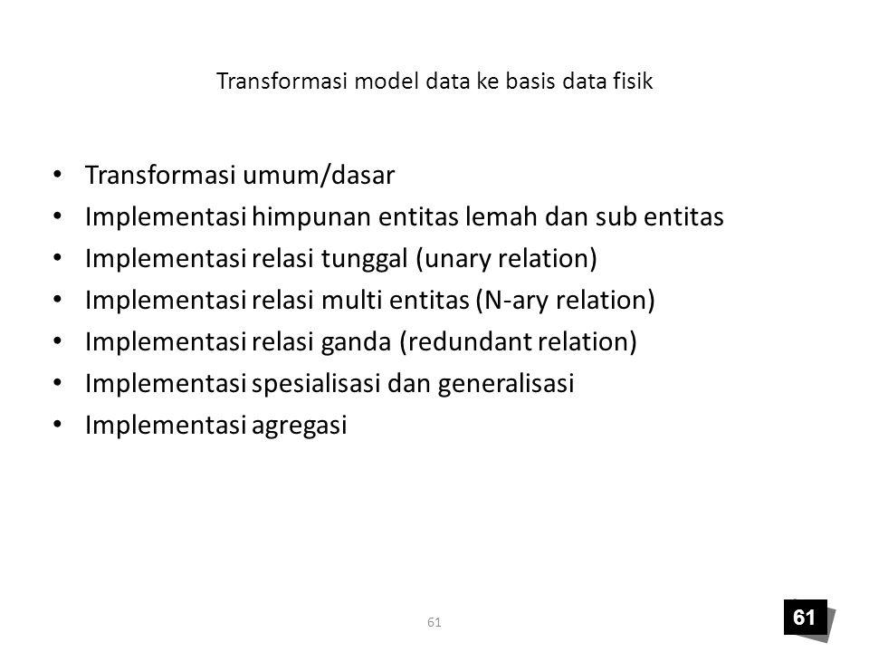 61 Transformasi model data ke basis data fisik Transformasi umum/dasar Implementasi himpunan entitas lemah dan sub entitas Implementasi relasi tunggal