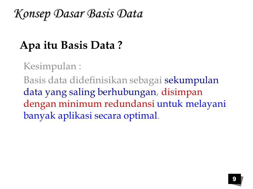 Konsep Dasar Basis Data Kesimpulan : Basis data didefinisikan sebagai sekumpulan data yang saling berhubungan, disimpan dengan minimum redundansi untu