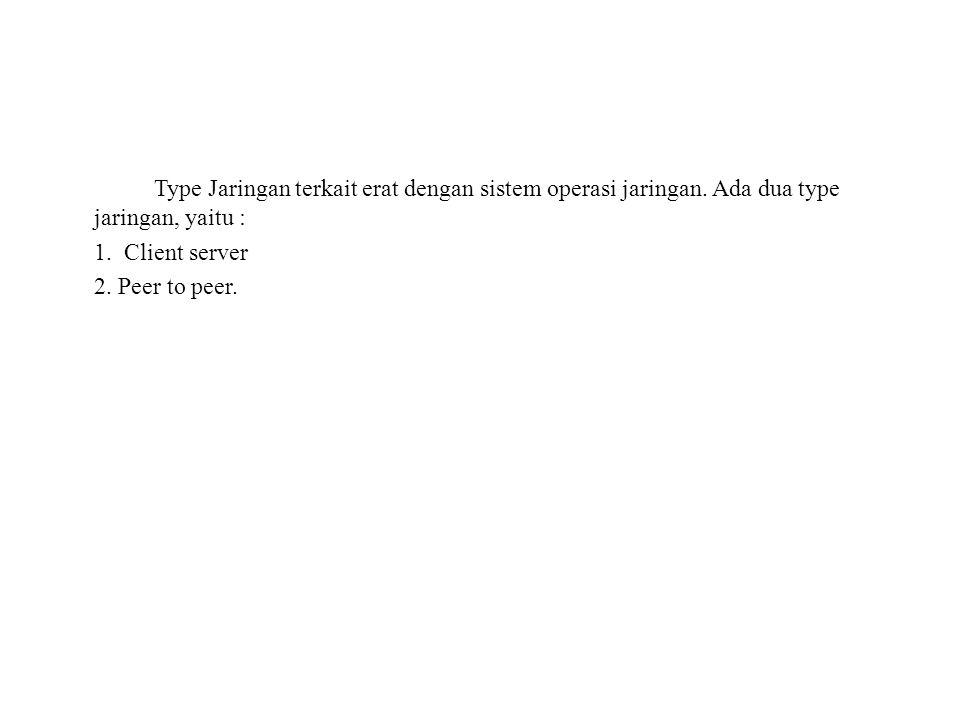 Type Jaringan terkait erat dengan sistem operasi jaringan. Ada dua type jaringan, yaitu : 1. Client server 2. Peer to peer.