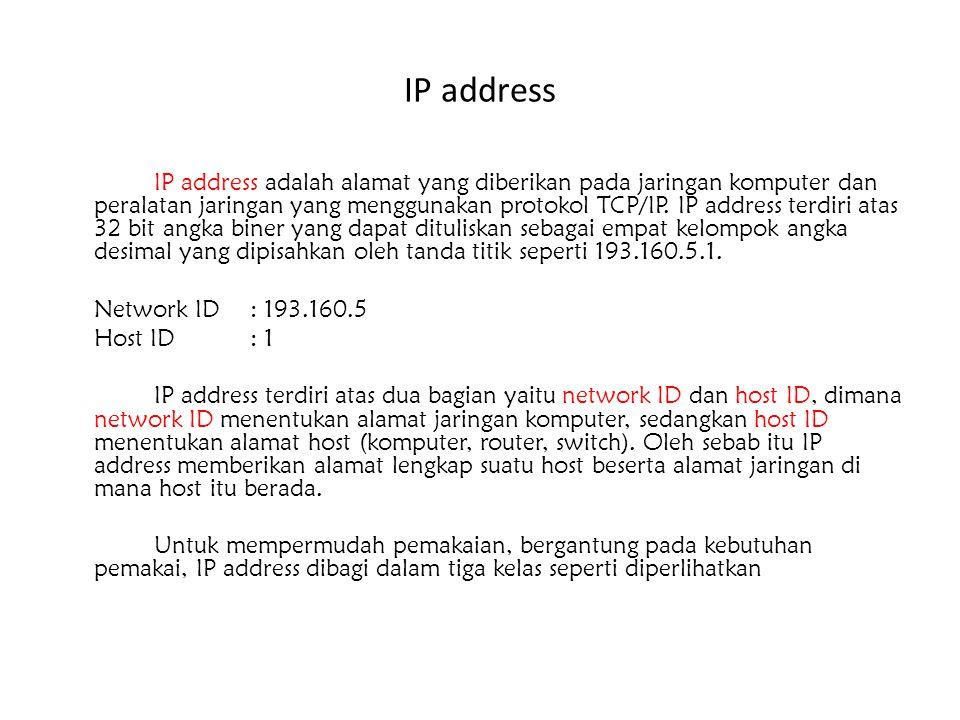 IP address IP address adalah alamat yang diberikan pada jaringan komputer dan peralatan jaringan yang menggunakan protokol TCP/IP. IP address terdiri