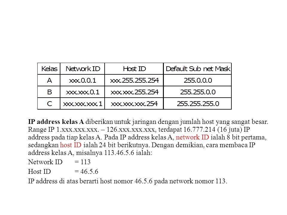 IP address kelas A diberikan untuk jaringan dengan jumlah host yang sangat besar. Range IP 1.xxx.xxx.xxx. – 126.xxx.xxx.xxx, terdapat 16.777.214 (16 j