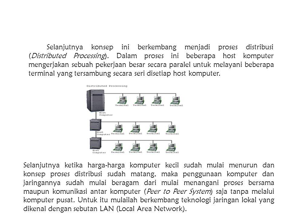 Selanjutnya konsep ini berkembang menjadi proses distribusi (Distributed Processing). Dalam proses ini beberapa host komputer mengerjakan sebuah peker