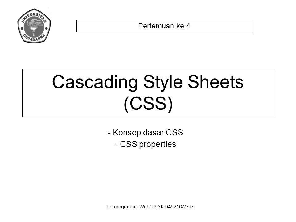 Pemrograman Web/TI/ AK 045216/2 sks - Konsep dasar CSS - CSS properties Cascading Style Sheets (CSS) Pertemuan ke 4