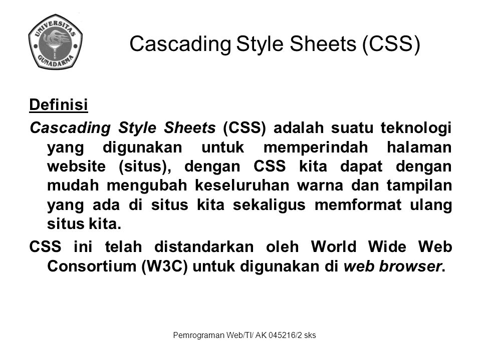 Pemrograman Web/TI/ AK 045216/2 sks Keuntungan CSS Dapat di-update dengan cepat dan mudah, karena kita cukup mendefinisikan sebuah style-sheet global yang berisi aturan- aturan CSS tersebut untuk diterapakan pada seluruh dokumen-dokumen HTML pada halaman situs kita.