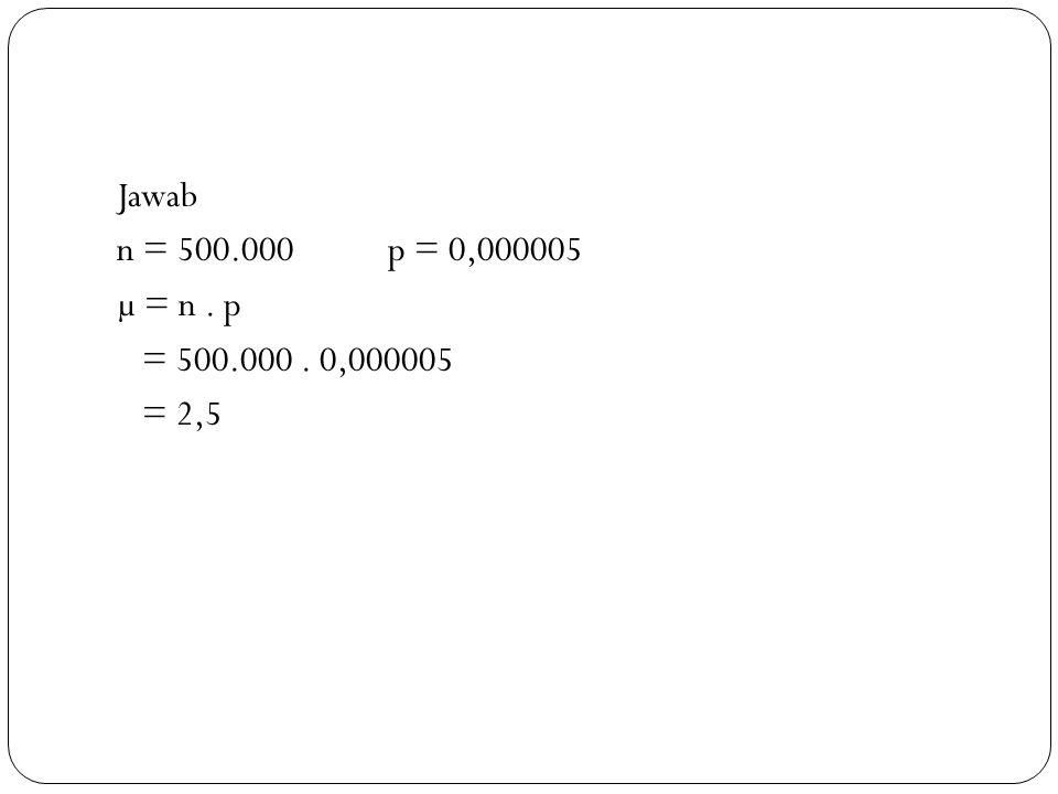 a. rata-rata ada 2 orang yang membalas iklan tersebut b. 0.205213 c. X = 0 = 0,08209