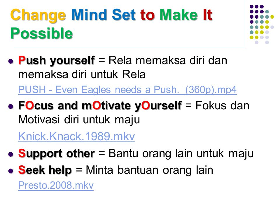 Change Mind Setto Make It Possible Change Mind Set to Make It Possible Push yourself Push yourself = Rela memaksa diri dan memaksa diri untuk Rela PUS