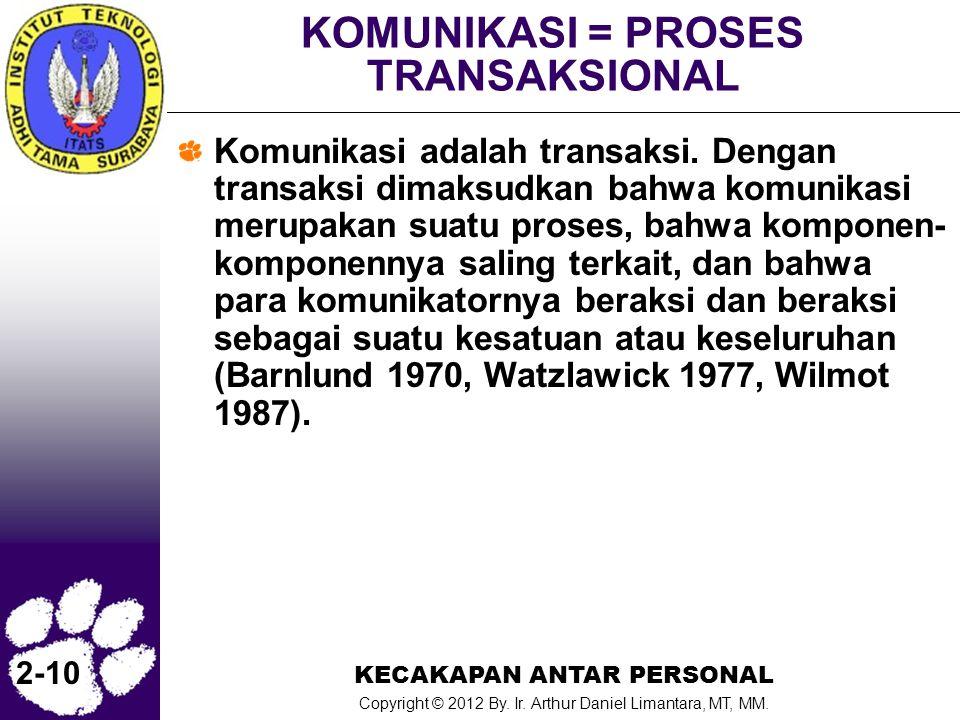 KECAKAPAN ANTAR PERSONAL Copyright © 2012 By. Ir. Arthur Daniel Limantara, MT, MM. 2-10 KOMUNIKASI = PROSES TRANSAKSIONAL Komunikasi adalah transaksi.