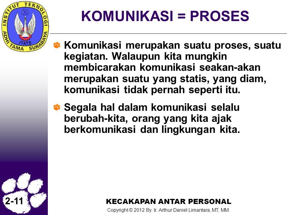 KECAKAPAN ANTAR PERSONAL Copyright © 2012 By. Ir. Arthur Daniel Limantara, MT, MM. 2-11 KOMUNIKASI = PROSES Komunikasi merupakan suatu proses, suatu k