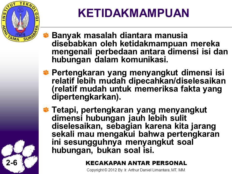 KECAKAPAN ANTAR PERSONAL Copyright © 2012 By. Ir. Arthur Daniel Limantara, MT, MM. 2-6 KETIDAKMAMPUAN Banyak masalah diantara manusia disebabkan oleh