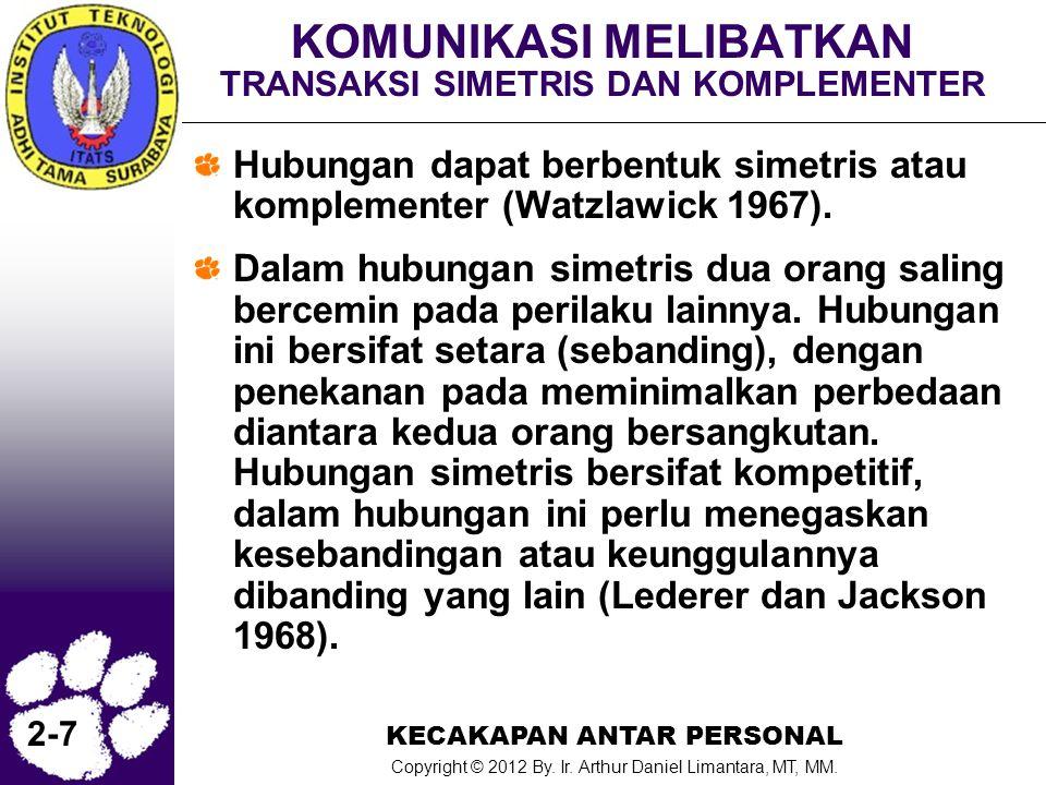 KECAKAPAN ANTAR PERSONAL Copyright © 2012 By. Ir. Arthur Daniel Limantara, MT, MM. 2-7 KOMUNIKASI MELIBATKAN TRANSAKSI SIMETRIS DAN KOMPLEMENTER Hubun