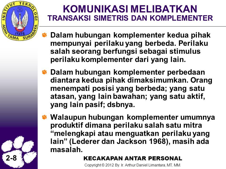 KECAKAPAN ANTAR PERSONAL Copyright © 2012 By. Ir. Arthur Daniel Limantara, MT, MM. 2-8 KOMUNIKASI MELIBATKAN TRANSAKSI SIMETRIS DAN KOMPLEMENTER Dalam