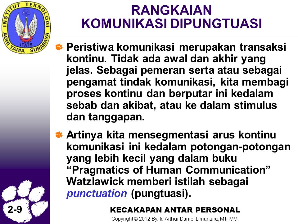 KECAKAPAN ANTAR PERSONAL Copyright © 2012 By. Ir. Arthur Daniel Limantara, MT, MM. 2-9 RANGKAIAN KOMUNIKASI DIPUNGTUASI Peristiwa komunikasi merupakan