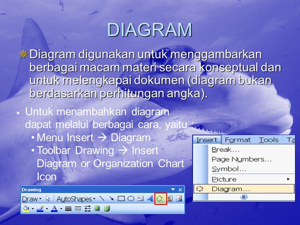 DIAGRAM  Diagram digunakan untuk menggambarkan berbagai macam materi secara konseptual dan untuk melengkapai dokumen (diagram bukan berdasarkan perhi