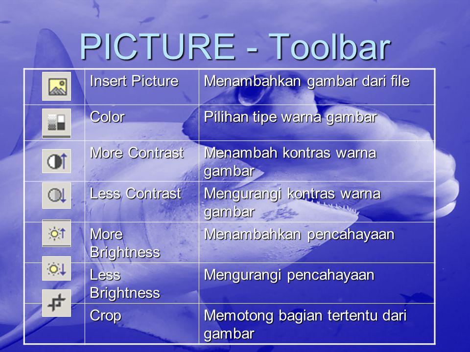 PICTURE - Toolbar Insert Picture Menambahkan gambar dari file Color Pilihan tipe warna gambar More Contrast Menambah kontras warna gambar Less Contras