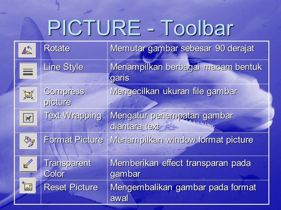 PICTURE - Toolbar Rotate Memutar gambar sebesar 90 derajat Line Style Menampilkan berbagai macam bentuk garis Compress picture Mengecilkan ukuran file