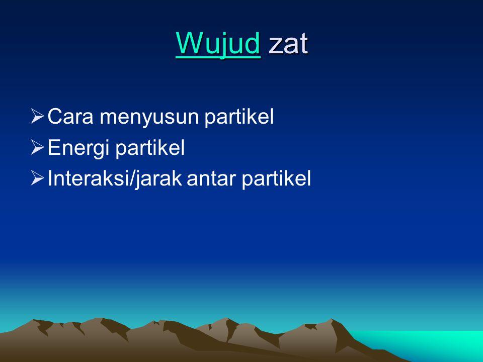 WujudWujud zat Wujud  Cara menyusun partikel  Energi partikel  Interaksi/jarak antar partikel