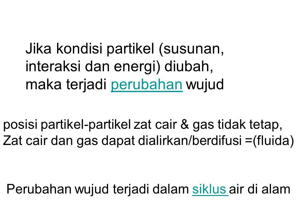 Jika kondisi partikel (susunan, interaksi dan energi) diubah, maka terjadi perubahan wujudperubahan Perubahan wujud terjadi dalam siklus air di alamsiklus posisi partikel-partikel zat cair & gas tidak tetap, Zat cair dan gas dapat dialirkan/berdifusi =(fluida)