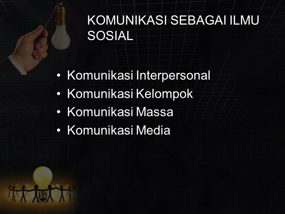 KOMUNIKASI SEBAGAI ILMU SOSIAL Komunikasi Interpersonal Komunikasi Kelompok Komunikasi Massa Komunikasi Media