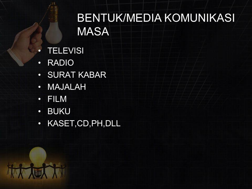 BENTUK/MEDIA KOMUNIKASI MASA TELEVISI RADIO SURAT KABAR MAJALAH FILM BUKU KASET,CD,PH,DLL
