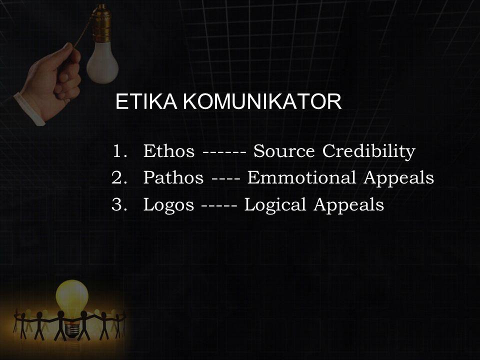 ETIKA KOMUNIKATOR 1.Ethos ------ Source Credibility 2.Pathos ---- Emmotional Appeals 3.Logos ----- Logical Appeals