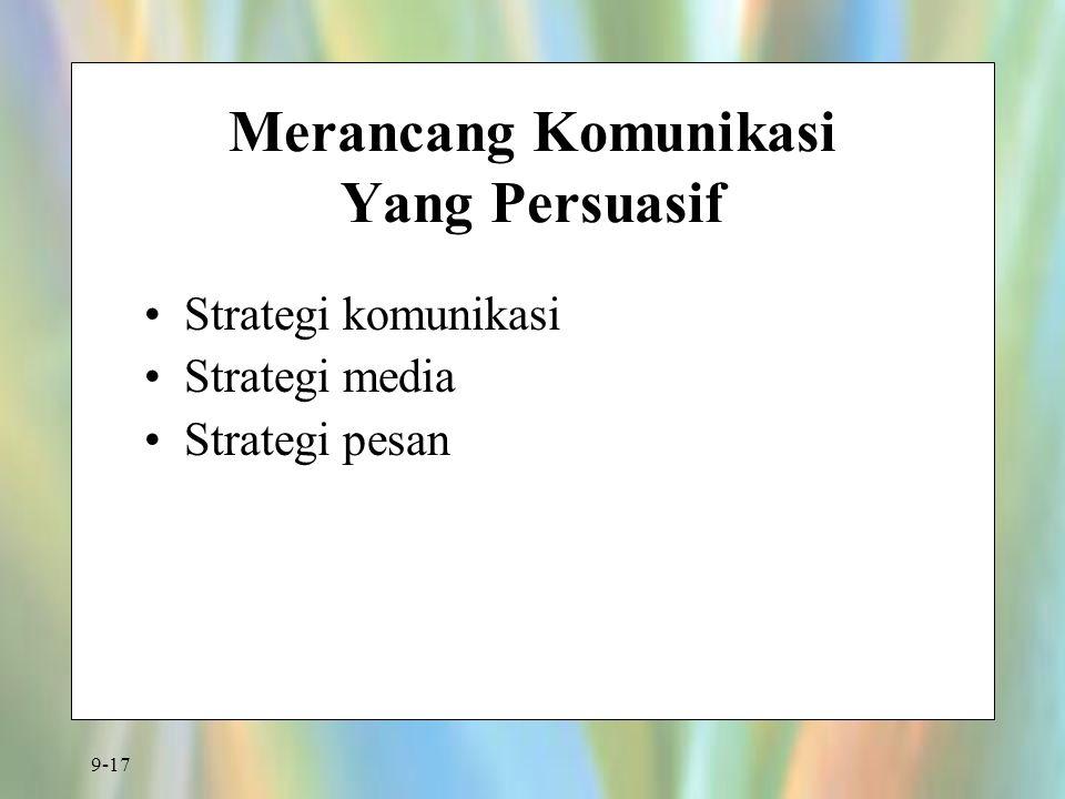 9-17 Merancang Komunikasi Yang Persuasif Strategi komunikasi Strategi media Strategi pesan