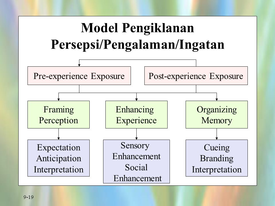 9-19 Model Pengiklanan Persepsi/Pengalaman/Ingatan Pre-experience ExposurePost-experience Exposure Framing Perception Enhancing Experience Organizing