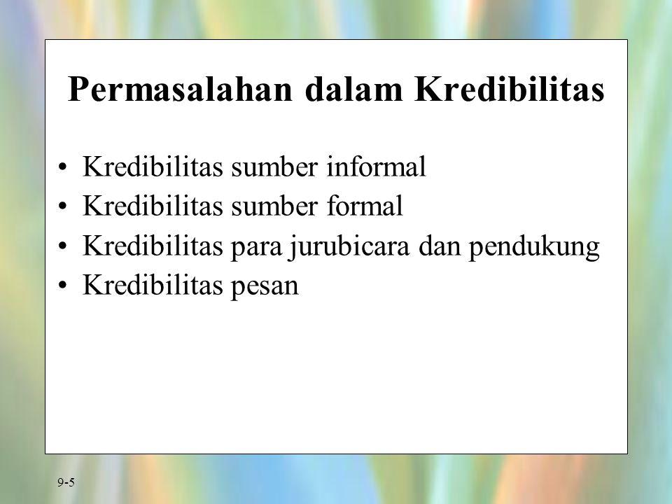9-5 Permasalahan dalam Kredibilitas Kredibilitas sumber informal Kredibilitas sumber formal Kredibilitas para jurubicara dan pendukung Kredibilitas pesan