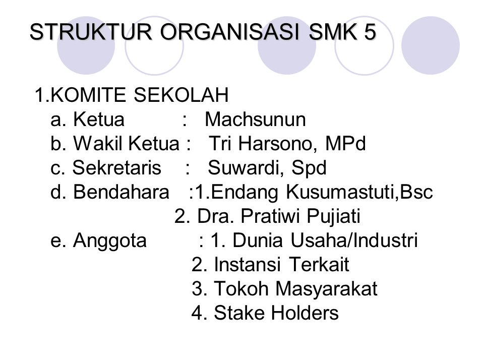 STRUKTUR ORGANISASI SMK 5 1.KOMITE SEKOLAH a. Ketua : Machsunun b. Wakil Ketua : Tri Harsono, MPd c. Sekretaris : Suwardi, Spd d. Bendahara :1.Endang