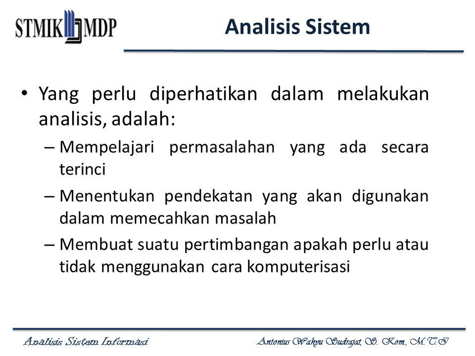 Analisis Sistem Informasi Antonius Wahyu Sudrajat, S. Kom., M.T.I Yang perlu diperhatikan dalam melakukan analisis, adalah: – Mempelajari permasalahan