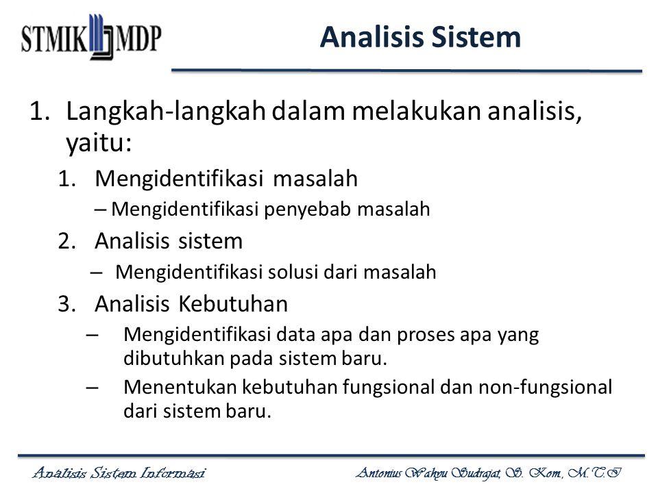 Analisis Sistem Informasi Antonius Wahyu Sudrajat, S. Kom., M.T.I 1.Langkah-langkah dalam melakukan analisis, yaitu: 1.Mengidentifikasi masalah – Meng