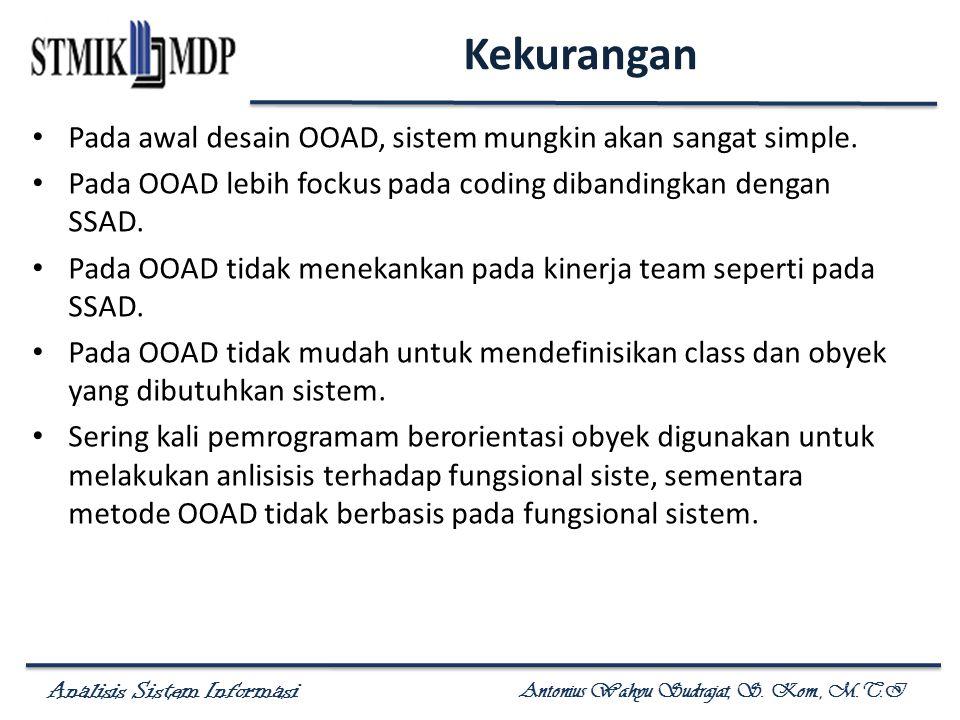Analisis Sistem Informasi Antonius Wahyu Sudrajat, S. Kom., M.T.I Kekurangan Pada awal desain OOAD, sistem mungkin akan sangat simple. Pada OOAD lebih