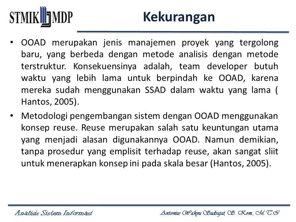 Analisis Sistem Informasi Antonius Wahyu Sudrajat, S. Kom., M.T.I Kekurangan OOAD merupakan jenis manajemen proyek yang tergolong baru, yang berbeda d
