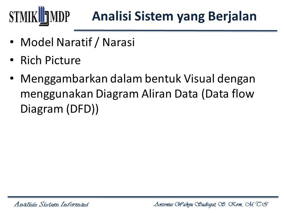Analisis Sistem Informasi Antonius Wahyu Sudrajat, S. Kom., M.T.I Analisi Sistem yang Berjalan Model Naratif / Narasi Rich Picture Menggambarkan dalam