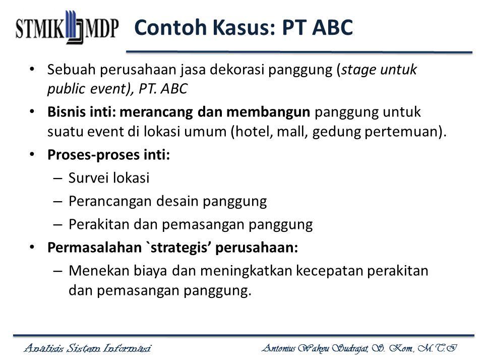 Analisis Sistem Informasi Antonius Wahyu Sudrajat, S. Kom., M.T.I Contoh Kasus: PT ABC Sebuah perusahaan jasa dekorasi panggung (stage untuk public ev