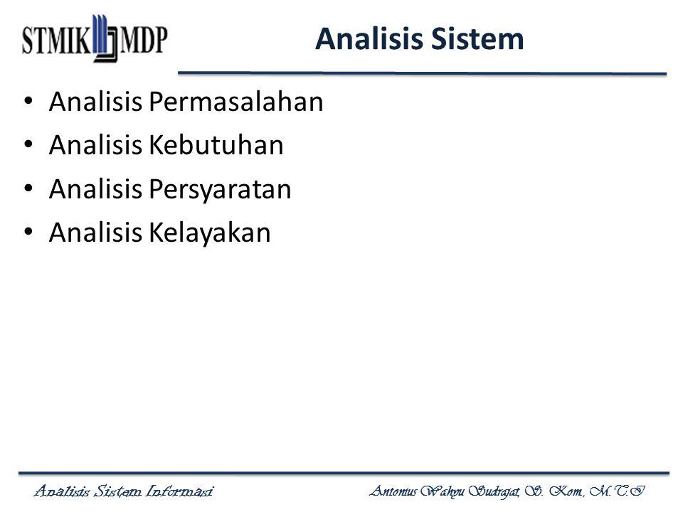 Analisis Sistem Informasi Antonius Wahyu Sudrajat, S. Kom., M.T.I Analisis Sistem Analisis Permasalahan Analisis Kebutuhan Analisis Persyaratan Analis