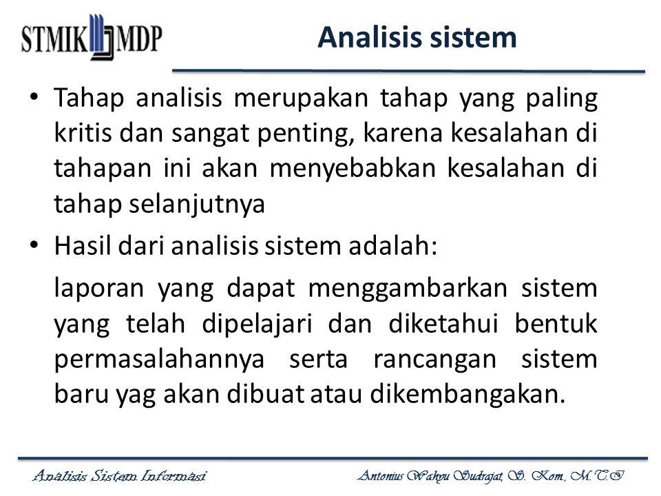 Analisis Sistem Informasi Antonius Wahyu Sudrajat, S. Kom., M.T.I Analisis sistem Tahap analisis merupakan tahap yang paling kritis dan sangat penting