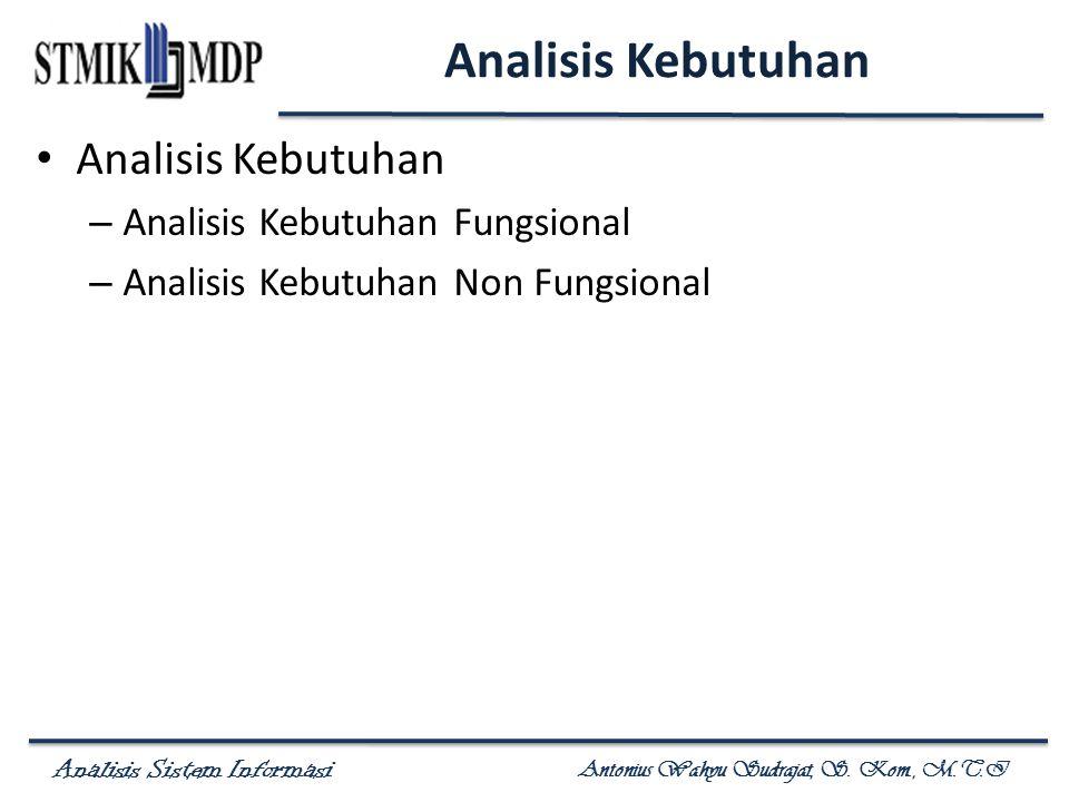 Analisis Sistem Informasi Antonius Wahyu Sudrajat, S. Kom., M.T.I Analisis Kebutuhan – Analisis Kebutuhan Fungsional – Analisis Kebutuhan Non Fungsion