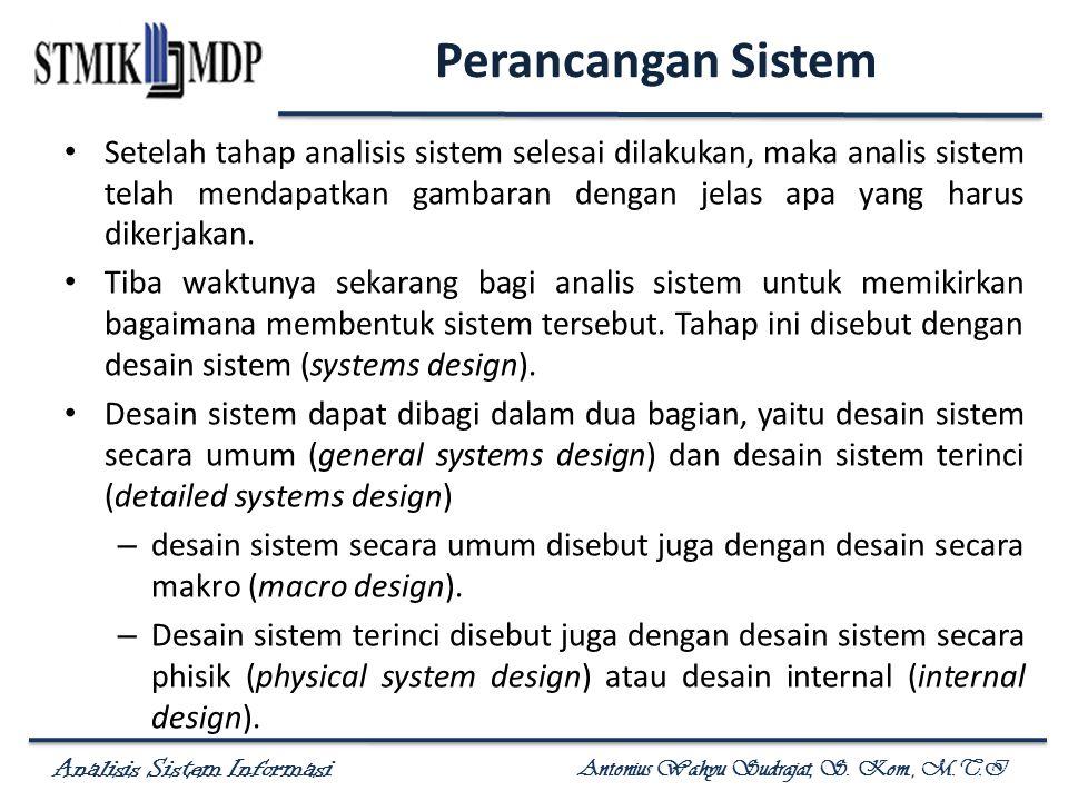 Analisis Sistem Informasi Antonius Wahyu Sudrajat, S. Kom., M.T.I Perancangan Sistem Setelah tahap analisis sistem selesai dilakukan, maka analis sist