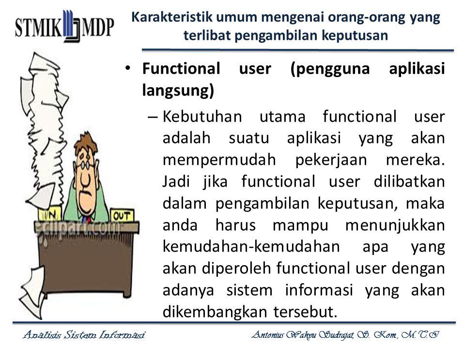 Analisis Sistem Informasi Antonius Wahyu Sudrajat, S. Kom., M.T.I Karakteristik umum mengenai orang-orang yang terlibat pengambilan keputusan Function