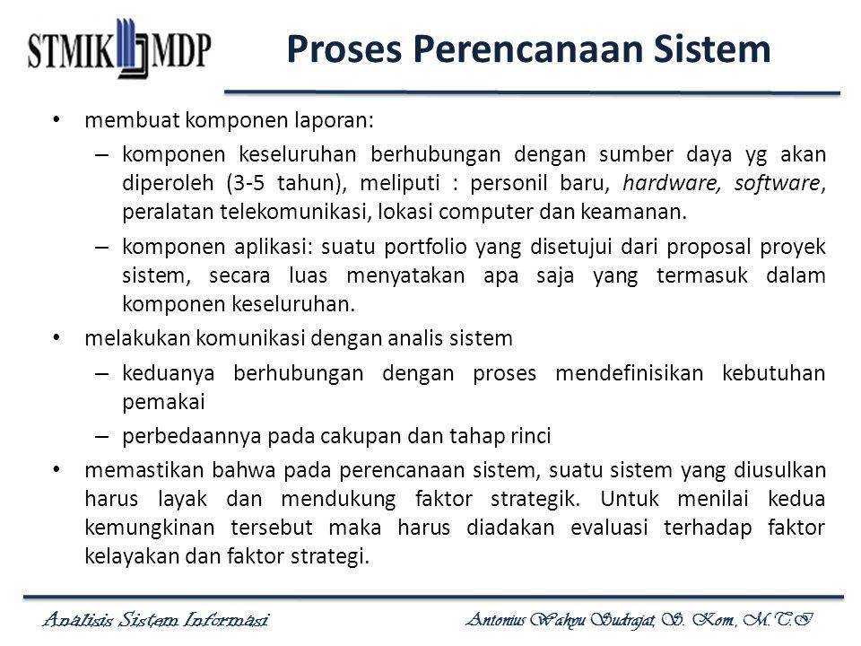 Analisis Sistem Informasi Antonius Wahyu Sudrajat, S. Kom., M.T.I Proses Perencanaan Sistem membuat komponen laporan: – komponen keseluruhan berhubung
