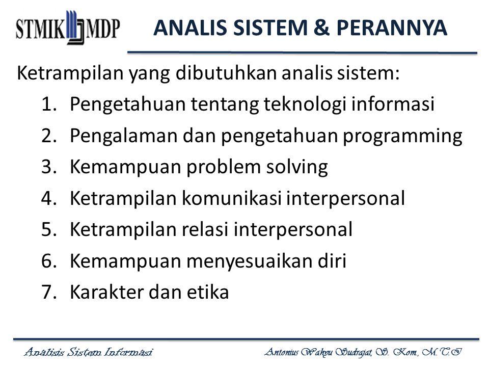 Analisis Sistem Informasi Antonius Wahyu Sudrajat, S. Kom., M.T.I ANALIS SISTEM & PERANNYA Ketrampilan yang dibutuhkan analis sistem: 1.Pengetahuan te