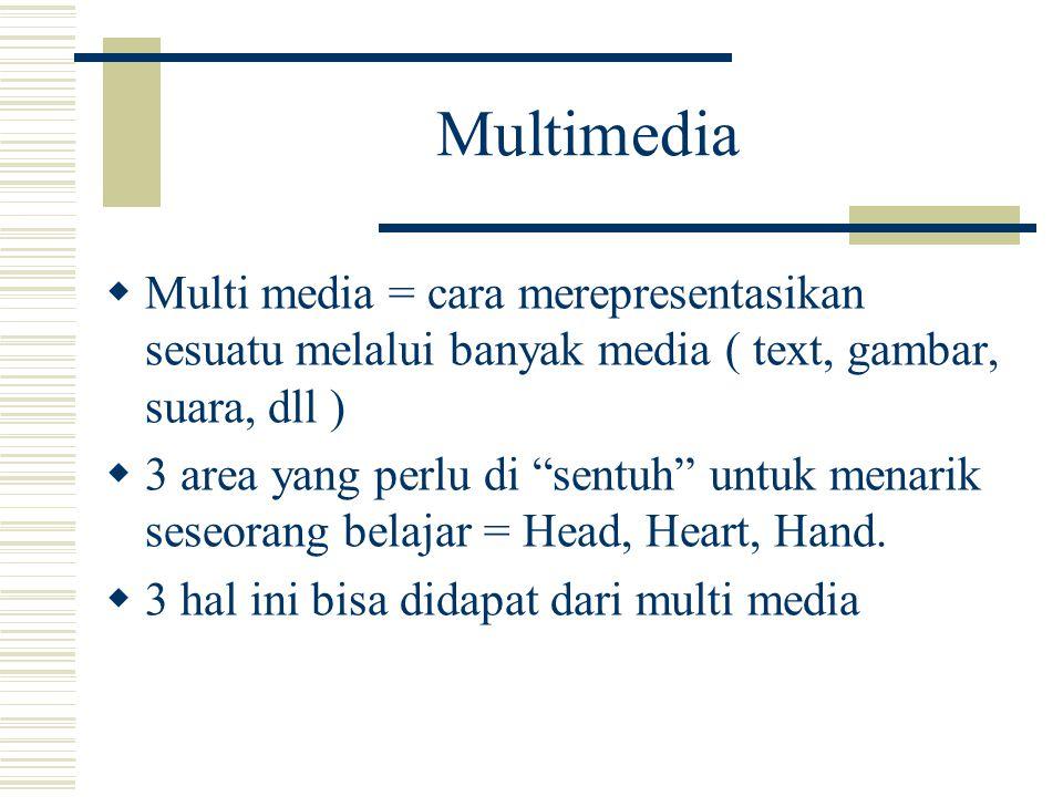 Multimedia  Multi media = cara merepresentasikan sesuatu melalui banyak media ( text, gambar, suara, dll )  3 area yang perlu di sentuh untuk menarik seseorang belajar = Head, Heart, Hand.